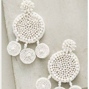 Anthropologie Beaded white Drop Earrings